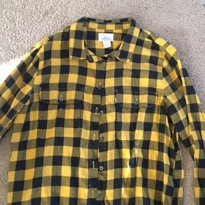 Black and yellow checkered button up